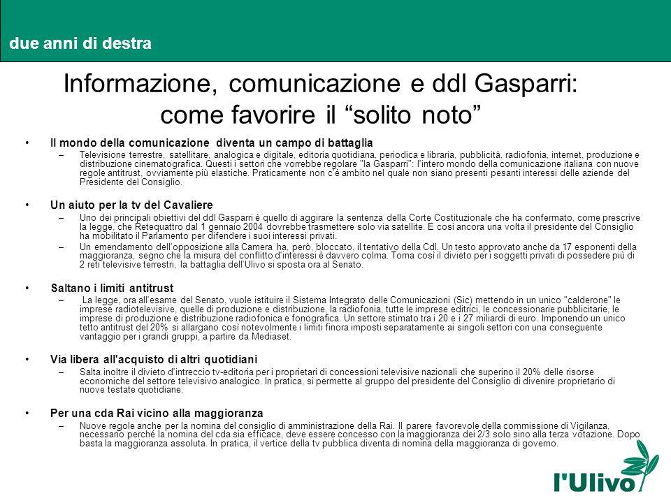 Informazione, comunicazione e ddl Gasparri: come favorire il solito noto Il mondo della comunicazione diventa un campo di battaglia –Televisione terre
