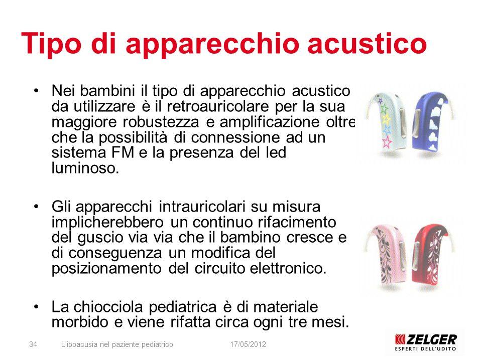 Tipo di apparecchio acustico Nei bambini il tipo di apparecchio acustico da utilizzare è il retroauricolare per la sua maggiore robustezza e amplifica