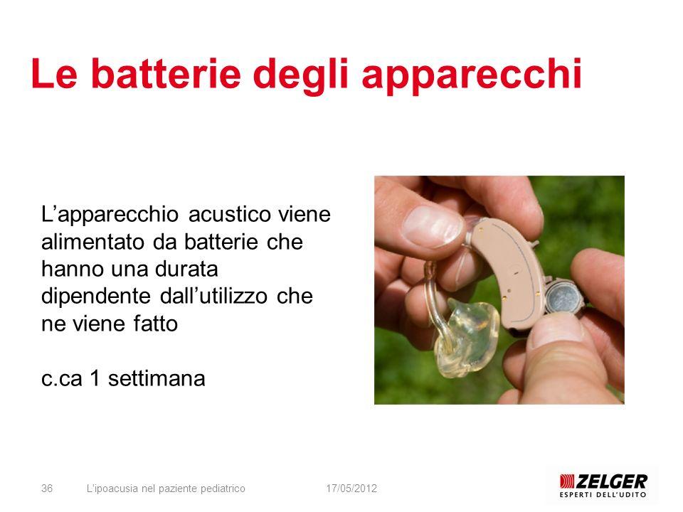 Le batterie degli apparecchi L'ipoacusia nel paziente pediatrico3617/05/2012 Lapparecchio acustico viene alimentato da batterie che hanno una durata d
