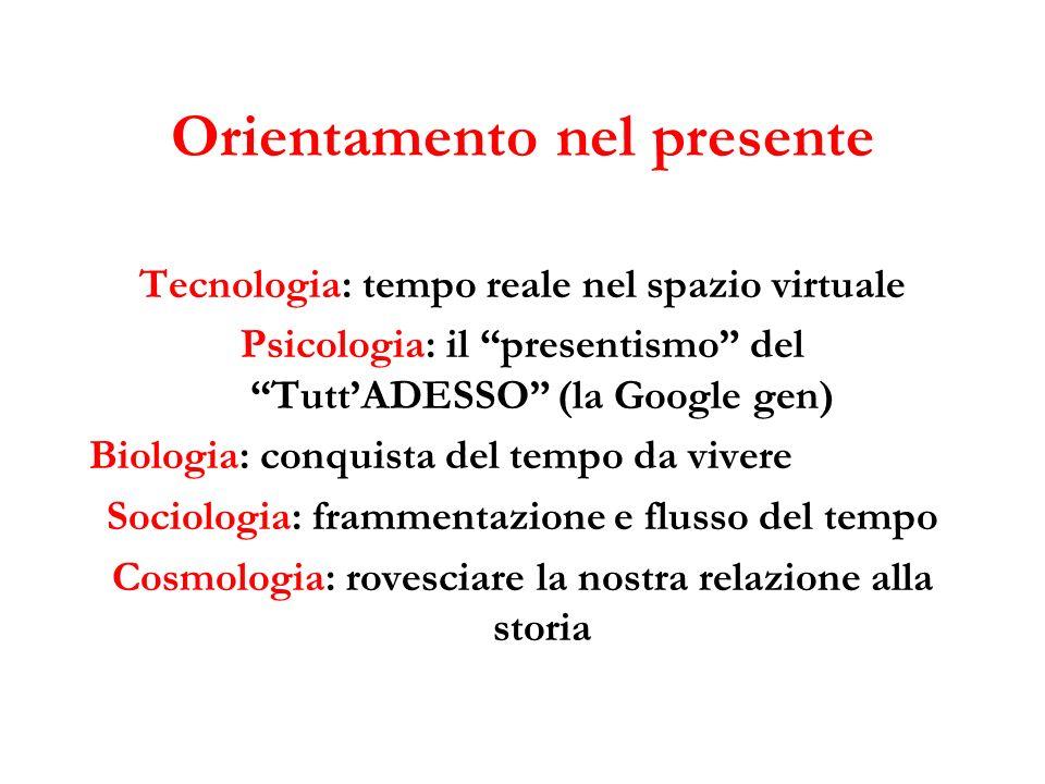 Orientamento nel presente Tecnologia: tempo reale nel spazio virtuale Psicologia: il presentismo del TuttADESSO (la Google gen) Biologia: conquista de