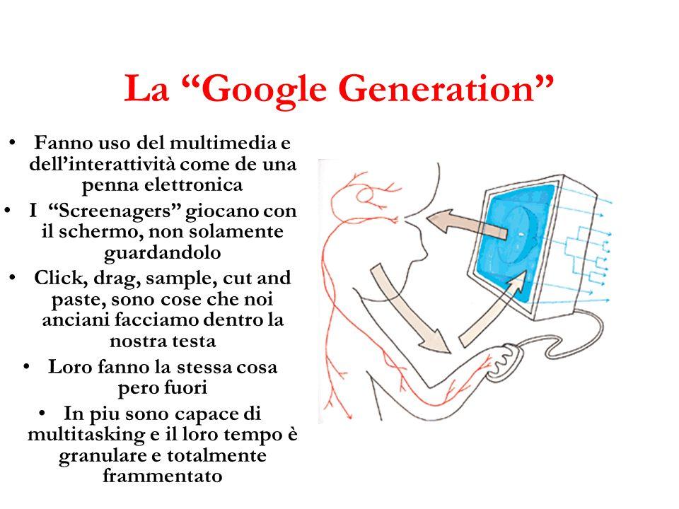 La Google Generation Fanno uso del multimedia e dellinterattività come de una penna elettronica I Screenagers giocano con il schermo, non solamente gu