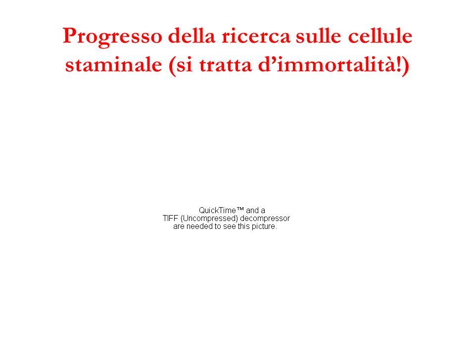 Progresso della ricerca sulle cellule staminale (si tratta dimmortalità!)