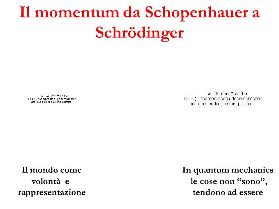 Il momentum da Schopenhauer a Schrödinger Il mondo come volontà e rappresentazione In quantum mechanics le cose non sono, tendono ad essere