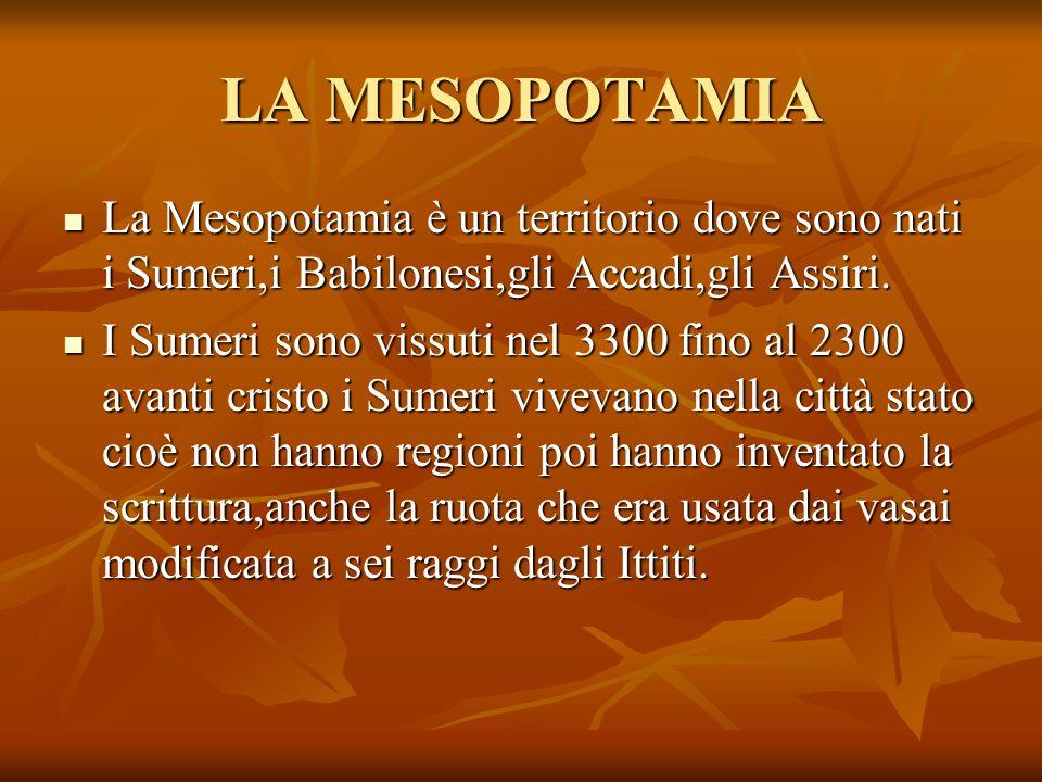 LA MESOPOTAMIA La Mesopotamia è un territorio dove sono nati i Sumeri,i Babilonesi,gli Accadi,gli Assiri. La Mesopotamia è un territorio dove sono nat