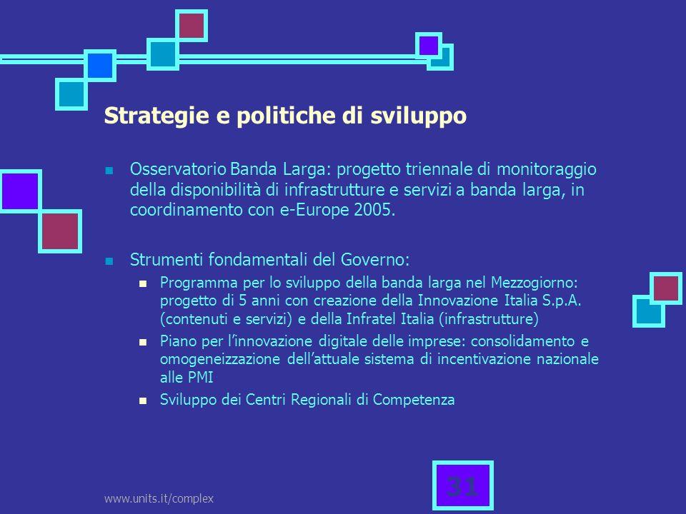 www.units.it/complex 31 Strategie e politiche di sviluppo Osservatorio Banda Larga: progetto triennale di monitoraggio della disponibilità di infrastr