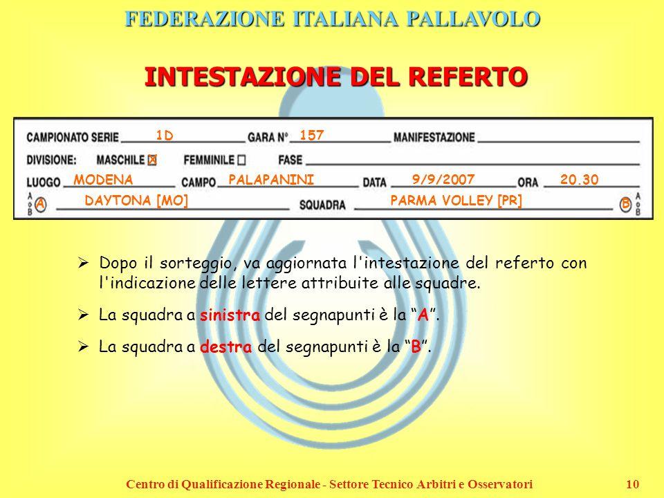 FEDERAZIONE ITALIANA PALLAVOLO Centro di Qualificazione Regionale - Settore Tecnico Arbitri e Osservatori10 INTESTAZIONE DEL REFERTO 1D 157 X MODENAPA