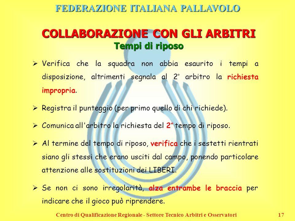 FEDERAZIONE ITALIANA PALLAVOLO Centro di Qualificazione Regionale - Settore Tecnico Arbitri e Osservatori17 COLLABORAZIONE CON GLI ARBITRI Tempi di ri