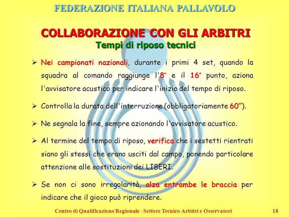 FEDERAZIONE ITALIANA PALLAVOLO Centro di Qualificazione Regionale - Settore Tecnico Arbitri e Osservatori18 COLLABORAZIONE CON GLI ARBITRI Tempi di ri