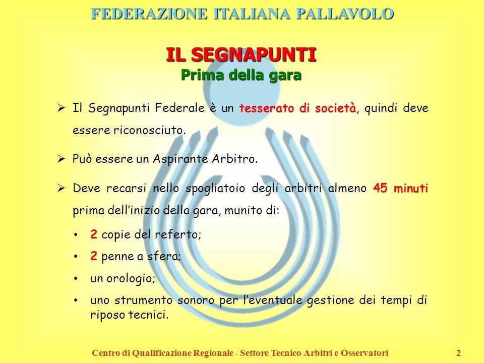 FEDERAZIONE ITALIANA PALLAVOLO Centro di Qualificazione Regionale - Settore Tecnico Arbitri e Osservatori2 IL SEGNAPUNTI Prima della gara Il Segnapunt