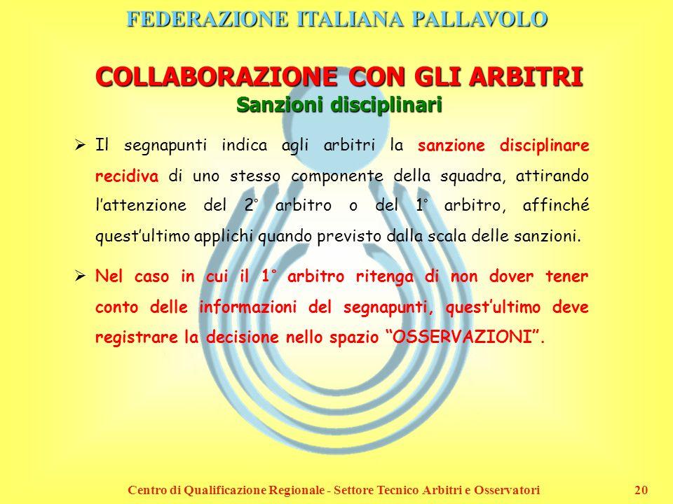 FEDERAZIONE ITALIANA PALLAVOLO Centro di Qualificazione Regionale - Settore Tecnico Arbitri e Osservatori20 COLLABORAZIONE CON GLI ARBITRI Sanzioni di