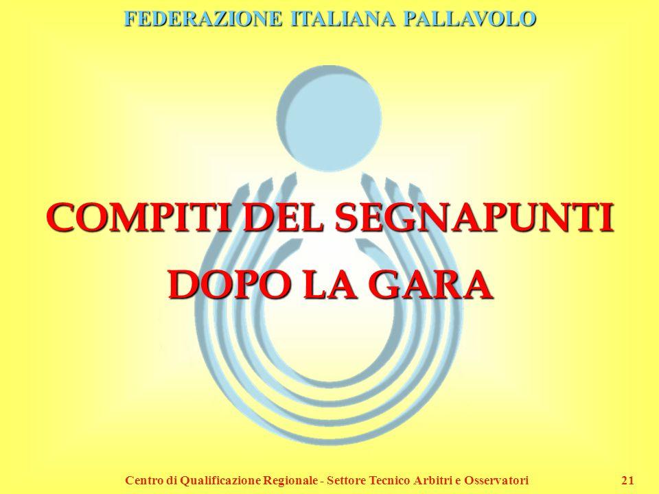 FEDERAZIONE ITALIANA PALLAVOLO Centro di Qualificazione Regionale - Settore Tecnico Arbitri e Osservatori21 COMPITI DEL SEGNAPUNTI DOPO LA GARA