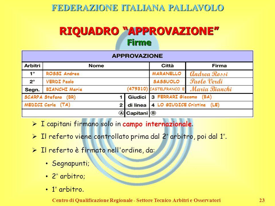 FEDERAZIONE ITALIANA PALLAVOLO Centro di Qualificazione Regionale - Settore Tecnico Arbitri e Osservatori23 RIQUADRO APPROVAZIONE Firme ROSSI Andrea V