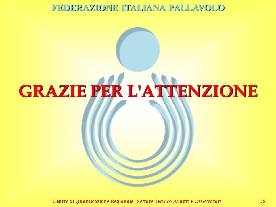 FEDERAZIONE ITALIANA PALLAVOLO Centro di Qualificazione Regionale - Settore Tecnico Arbitri e Osservatori28 GRAZIE PER L'ATTENZIONE