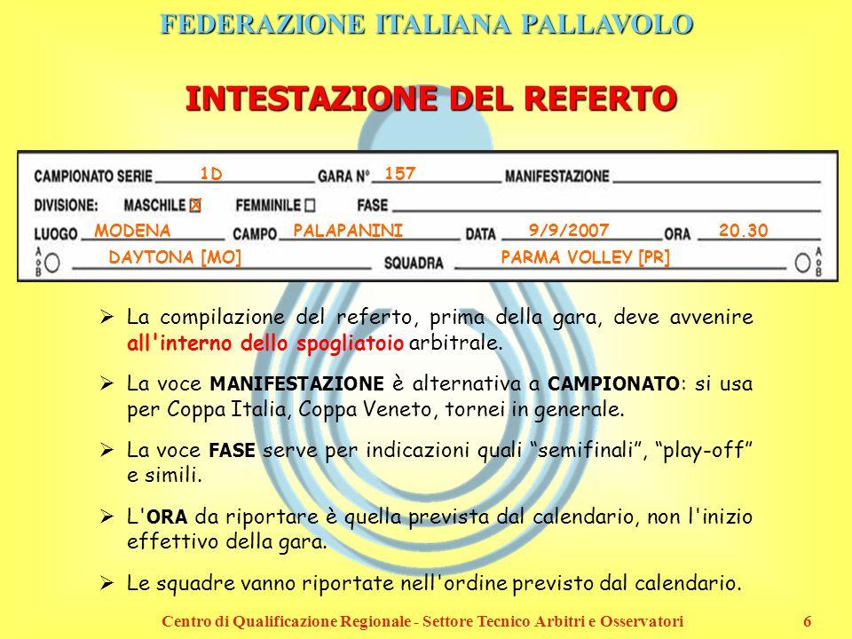 FEDERAZIONE ITALIANA PALLAVOLO Centro di Qualificazione Regionale - Settore Tecnico Arbitri e Osservatori6 INTESTAZIONE DEL REFERTO 1D 157 X MODENAPAL