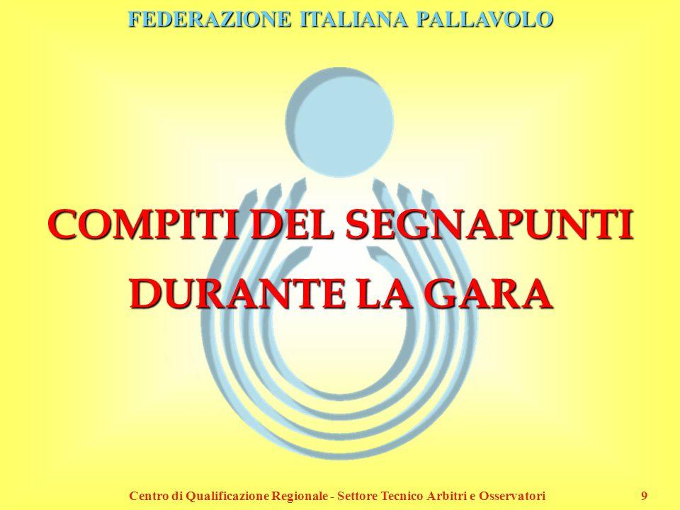FEDERAZIONE ITALIANA PALLAVOLO Centro di Qualificazione Regionale - Settore Tecnico Arbitri e Osservatori10 INTESTAZIONE DEL REFERTO 1D 157 X MODENAPALAPANINI20.30 DAYTONA [MO]PARMA VOLLEY [PR] Dopo il sorteggio, va aggiornata l intestazione del referto con l indicazione delle lettere attribuite alle squadre.