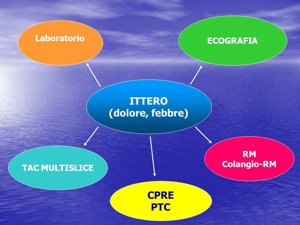ITTERO (dolore, febbre) Laboratorio ECOGRAFIA TAC MULTISLICE RM Colangio-RM CPRE PTC