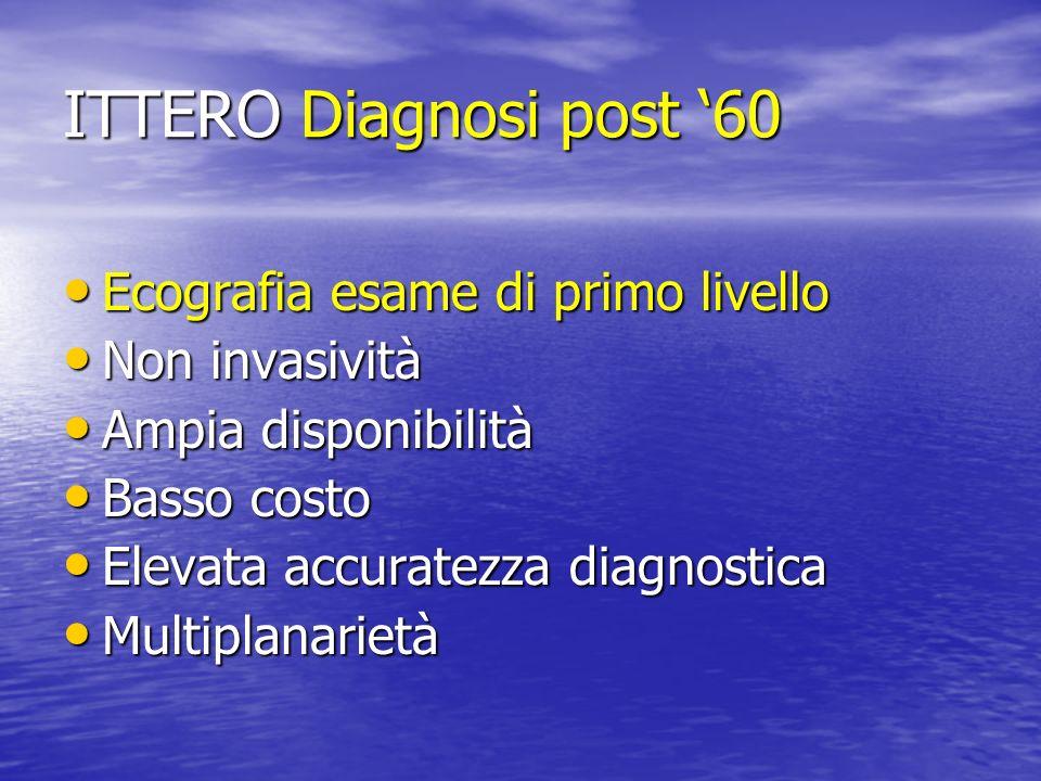 ITTERO Diagnosi post 60 Ecografia esame di primo livello Ecografia esame di primo livello Non invasività Non invasività Ampia disponibilità Ampia disp