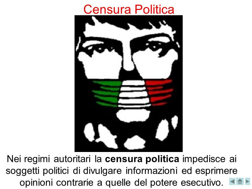 Nei regimi autoritari la censura politica impedisce ai soggetti politici di divulgare informazioni ed esprimere opinioni contrarie a quelle del potere