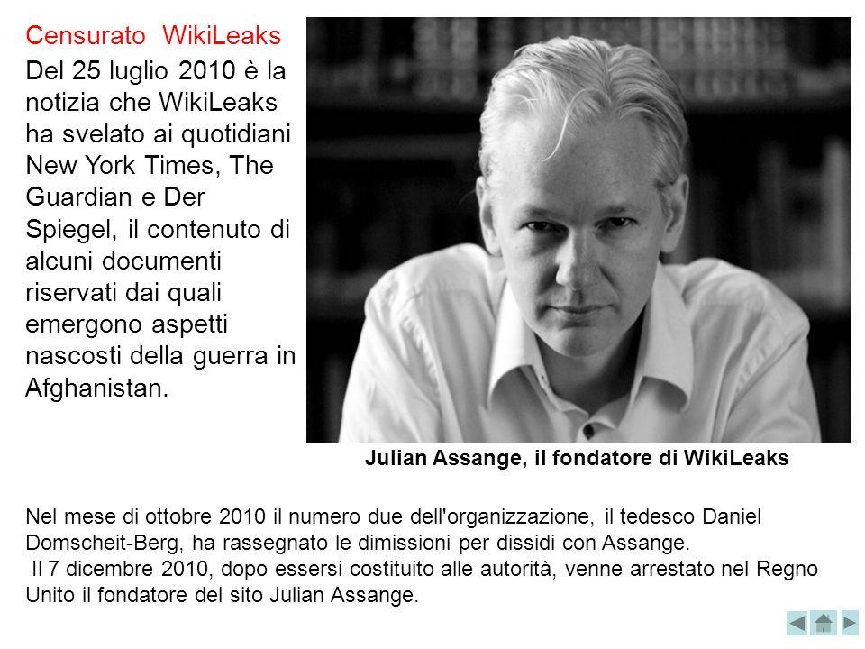 Del 25 luglio 2010 è la notizia che WikiLeaks ha svelato ai quotidiani New York Times, The Guardian e Der Spiegel, il contenuto di alcuni documenti ri