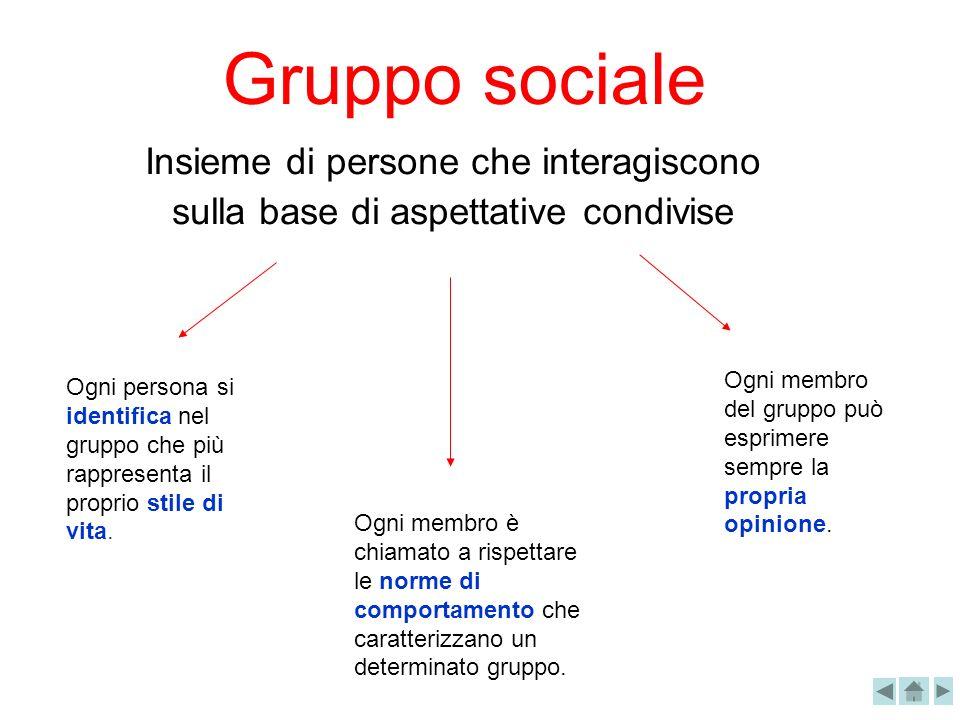 Gruppo sociale Insieme di persone che interagiscono sulla base di aspettative condivise Ogni membro è chiamato a rispettare le norme di comportamento
