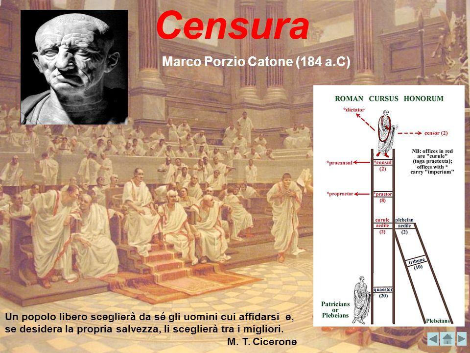 Censura Marco Porzio Catone (184 a.C) Un popolo libero sceglierà da sé gli uomini cui affidarsi e, se desidera la propria salvezza, li sceglierà tra i