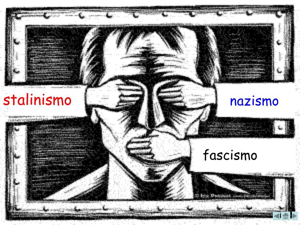 totalitarismi stalinismo nazismoFascismo Le LEGGI FASCISTE sopprimevano: Tutte le libertà politiche e sindacali Negavano il diritto di sciopero, della libertà di stampa e di associazione Inquadrarono gli italiani nei sindacati fascisti, organizzando anche il loro tempo libero Riformarono la scuola Stalin abolì la classe sociale perché pensava che tutti dovessero essere uguali all interno del Paese Abolì totalmente la proprietà privata Gli ebrei erano dichiarati razza inferioree privati di tutti i diritti civili e politici.