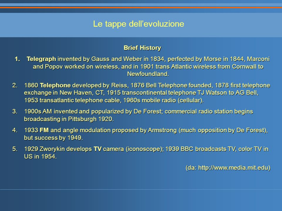 Le tappe dellevoluzione Brief History 1.Telegraph invented by Gauss and Weber in 1834, perfected by Morse in 1844, Marconi and Popov worked on wireles