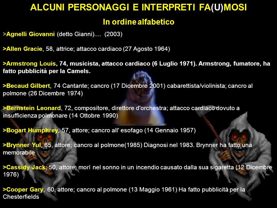 ALCUNI PERSONAGGI E INTERPRETI FA(U)MOSI In ordine alfabetico >Agnelli Giovanni (detto Gianni).... (2003) >Allen Gracie, 58, attrice; attacco cardiaco