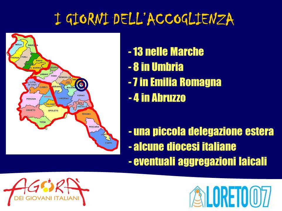 I GIORNI DELLACCOGLIENZA - 13 nelle Marche - 8 in Umbria - 7 in Emilia Romagna - 4 in Abruzzo - una piccola delegazione estera - alcune diocesi italiane - eventuali aggregazioni laicali