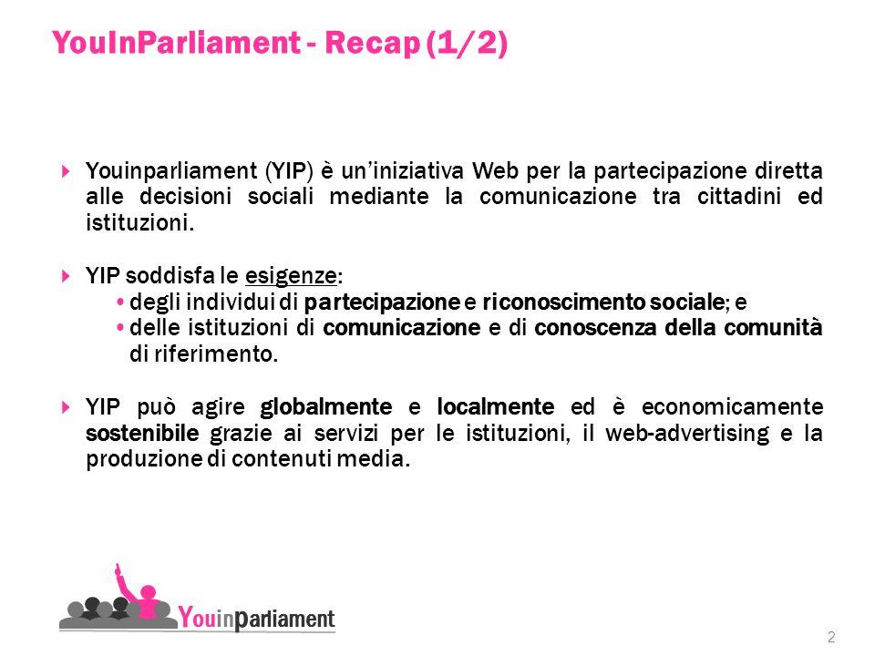 2 Youinparliament (YIP) è uniniziativa Web per la partecipazione diretta alle decisioni sociali mediante la comunicazione tra cittadini ed istituzioni.