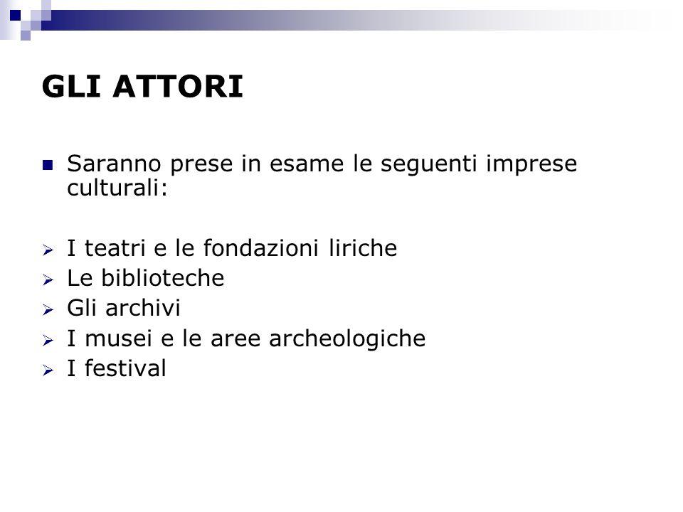 GLI ATTORI Saranno prese in esame le seguenti imprese culturali: I teatri e le fondazioni liriche Le biblioteche Gli archivi I musei e le aree archeol
