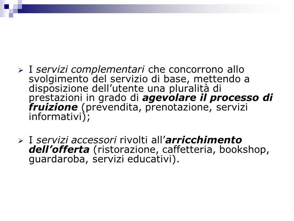I servizi complementari che concorrono allo svolgimento del servizio di base, mettendo a disposizione dellutente una pluralità di prestazioni in grado