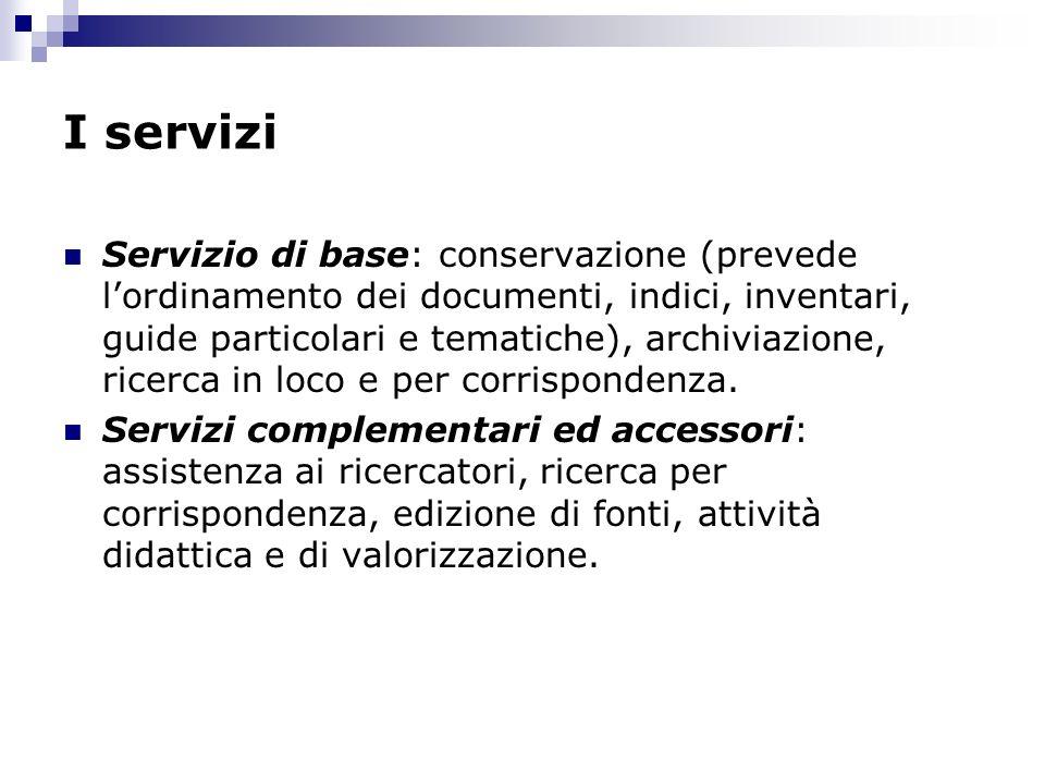 I servizi Servizio di base: conservazione (prevede lordinamento dei documenti, indici, inventari, guide particolari e tematiche), archiviazione, ricer