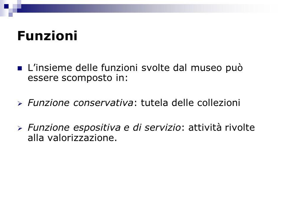 Funzioni Linsieme delle funzioni svolte dal museo può essere scomposto in: Funzione conservativa: tutela delle collezioni Funzione espositiva e di ser