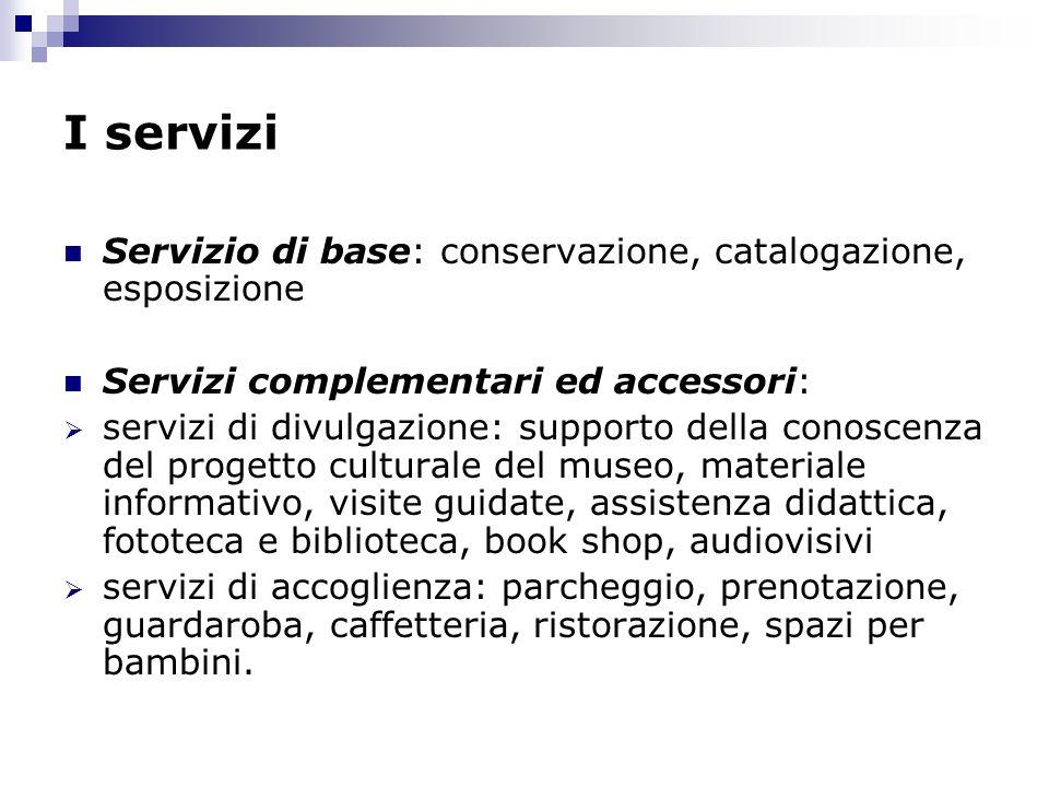 I servizi Servizio di base: conservazione, catalogazione, esposizione Servizi complementari ed accessori: servizi di divulgazione: supporto della cono