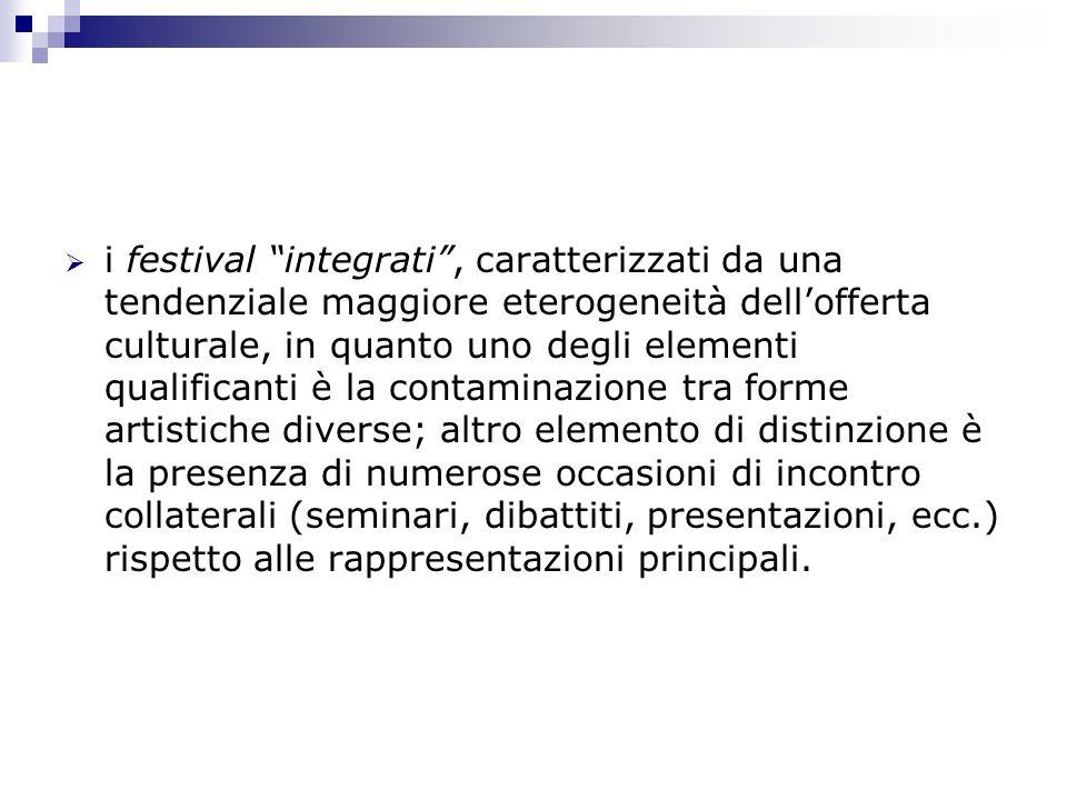 i festival integrati, caratterizzati da una tendenziale maggiore eterogeneità dellofferta culturale, in quanto uno degli elementi qualificanti è la co
