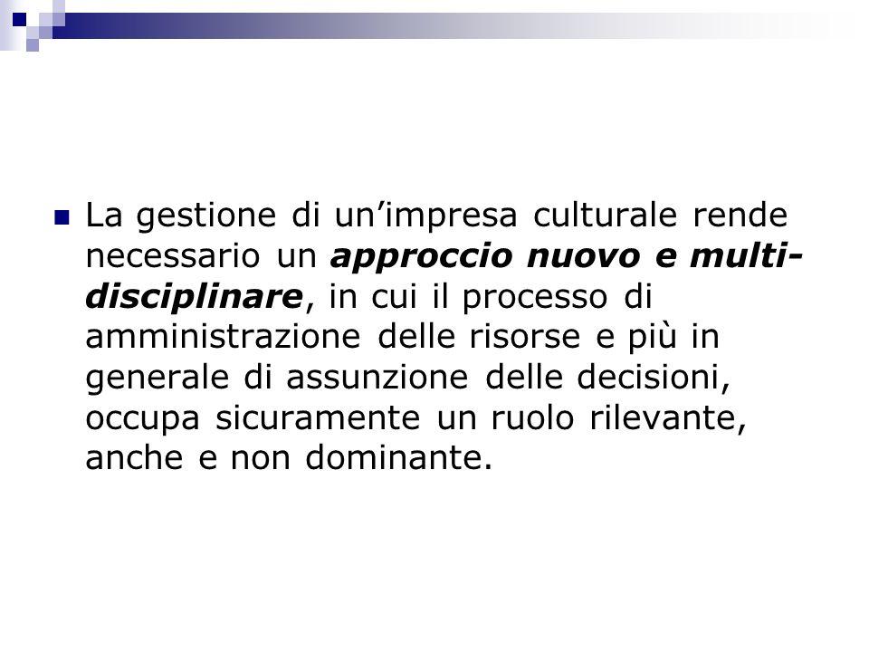La gestione di unimpresa culturale rende necessario un approccio nuovo e multi- disciplinare, in cui il processo di amministrazione delle risorse e pi