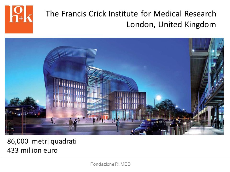 The Francis Crick Institute for Medical Research London, United Kingdom 86,000 metri quadrati 433 million euro Fondazione Ri.MED