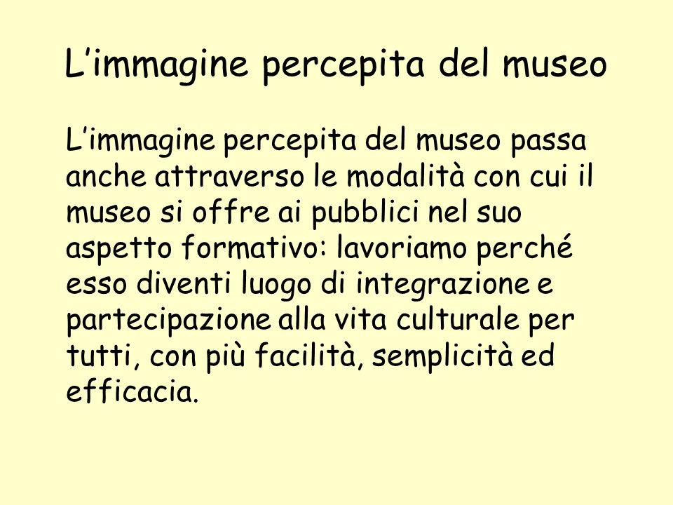 Limmagine percepita del museo Limmagine percepita del museo passa anche attraverso le modalità con cui il museo si offre ai pubblici nel suo aspetto f