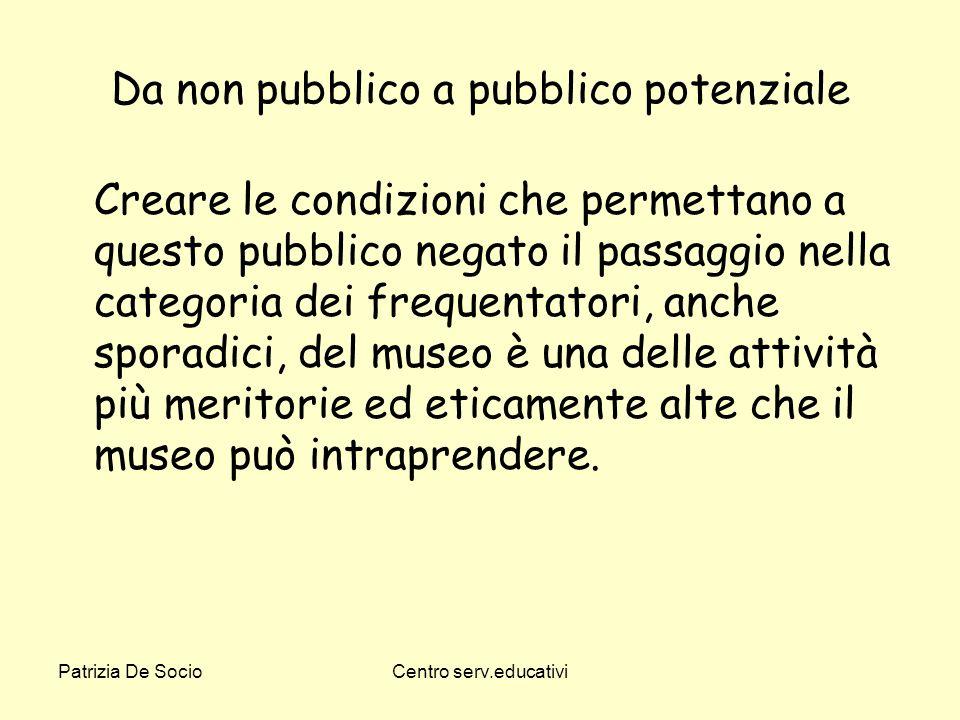 Patrizia De SocioCentro serv.educativi Da non pubblico a pubblico potenziale Creare le condizioni che permettano a questo pubblico negato il passaggio
