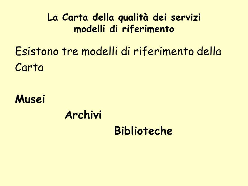La Carta della qualità dei servizi modelli di riferimento Esistono tre modelli di riferimento della Carta Musei Archivi Biblioteche
