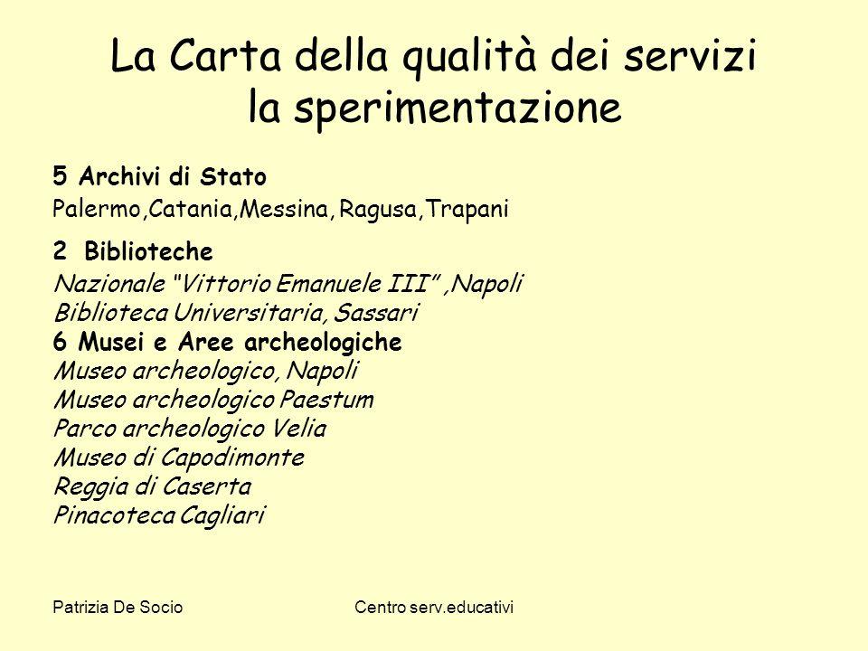 Patrizia De SocioCentro serv.educativi La Carta della qualità dei servizi la sperimentazione 5 Archivi di Stato Palermo,Catania,Messina, Ragusa,Trapan