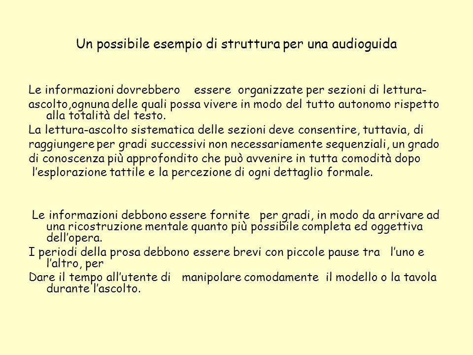 Un possibile esempio di struttura per una audioguida Le informazioni dovrebbero essere organizzate per sezioni di lettura- ascolto,ognuna delle quali