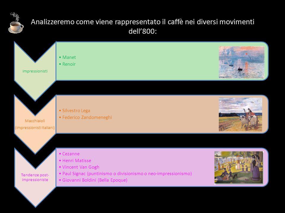 Analizzeremo come viene rappresentato il caffè nei diversi movimenti dell800: impressionisti Manet Renoir Macchiaioli (impressionisti italiani) Silves