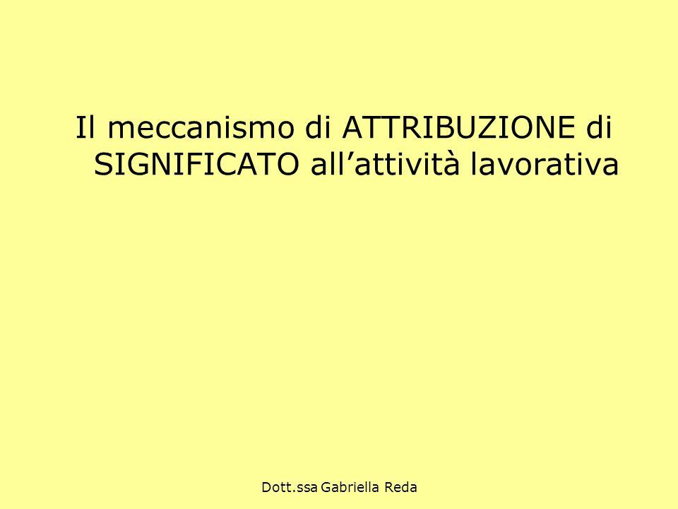 Dott.ssa Gabriella Reda Il meccanismo di ATTRIBUZIONE di SIGNIFICATO allattività lavorativa