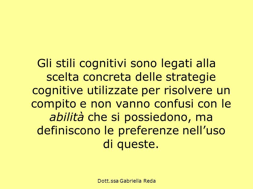 Dott.ssa Gabriella Reda Gli stili cognitivi sono legati alla scelta concreta delle strategie cognitive utilizzate per risolvere un compito e non vanno