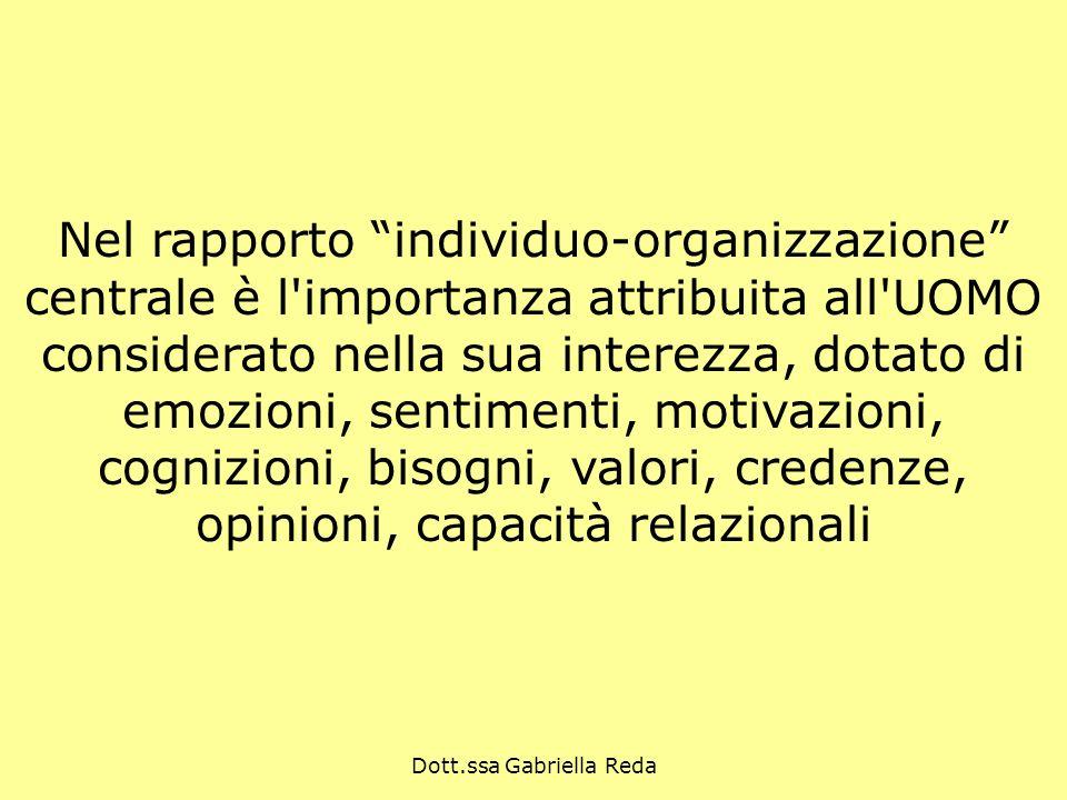 Dott.ssa Gabriella Reda Nel rapporto individuo-organizzazione centrale è l'importanza attribuita all'UOMO considerato nella sua interezza, dotato di e