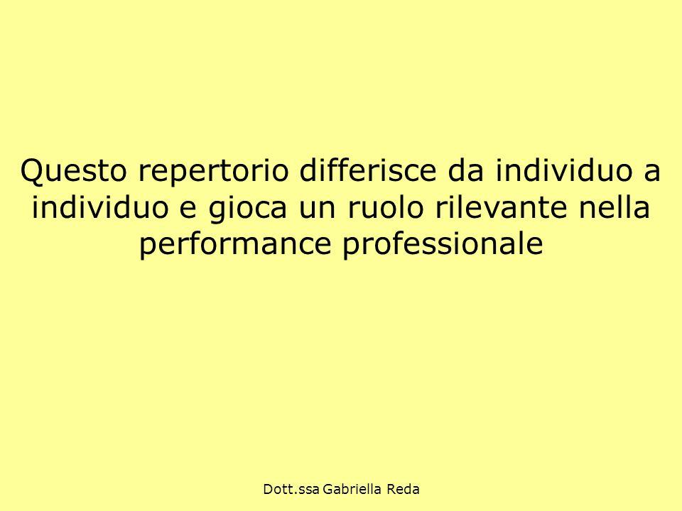 Dott.ssa Gabriella Reda Questo repertorio differisce da individuo a individuo e gioca un ruolo rilevante nella performance professionale