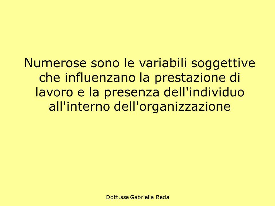Dott.ssa Gabriella Reda Numerose sono le variabili soggettive che influenzano la prestazione di lavoro e la presenza dell'individuo all'interno dell'o