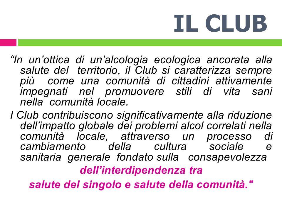 IL CLUB In unottica di unalcologia ecologica ancorata alla salute del territorio, il Club si caratterizza sempre più come una comunità di cittadini attivamente impegnati nel promuovere stili di vita sani nella comunità locale.